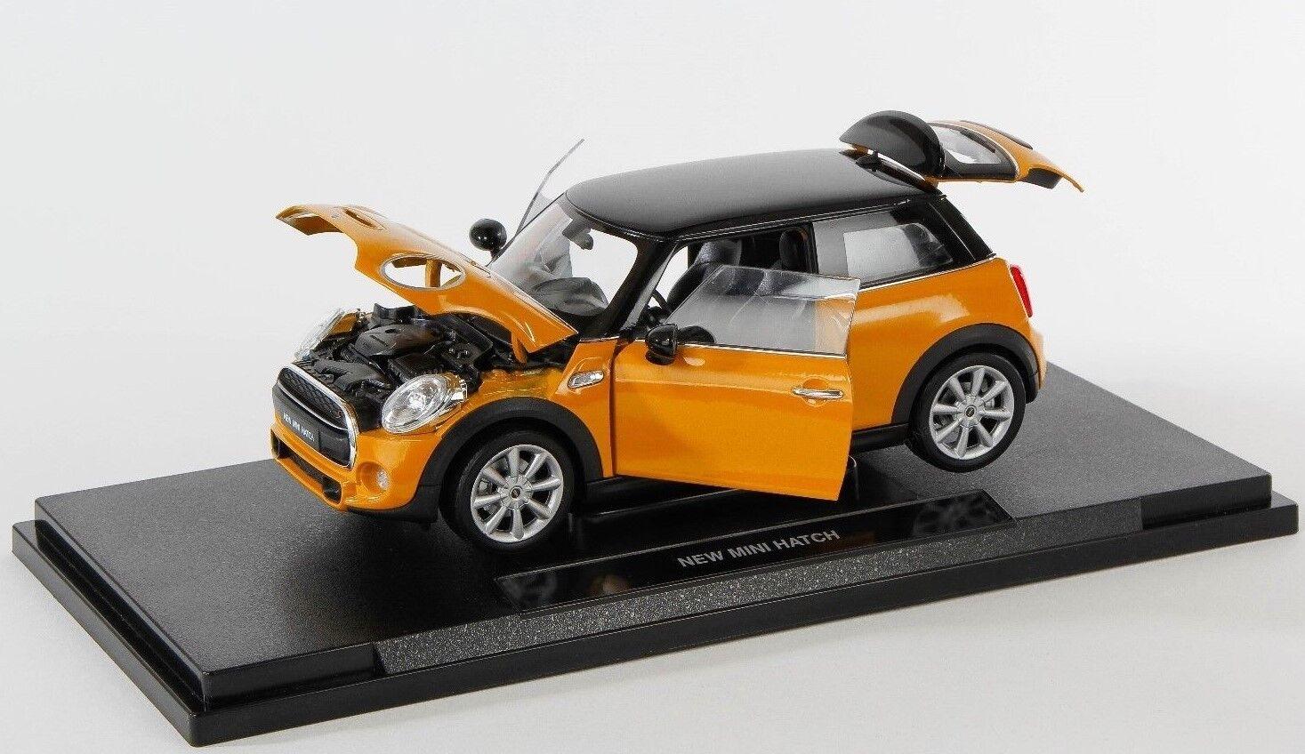 Livraison rapide New Mini Hatch Orange Welly Modèle Auto 1 18 NOUVEAU & NEUF dans sa boîte