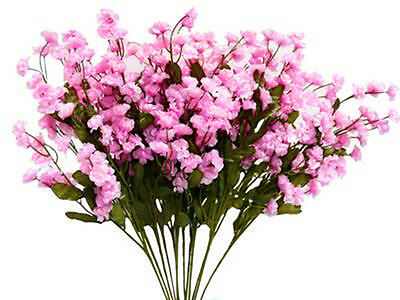 12 Baby's Breath ~  PINK Gypsophila Silk Artificial Wedding Flowers Centerpieces