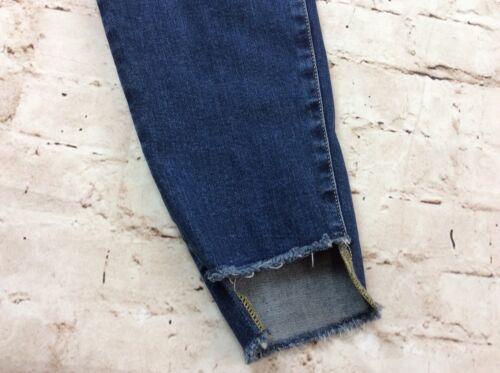 Isabel Maternity Jeans 16 Skinny Cut Distressed Side Panel Frayed Hem Stretch