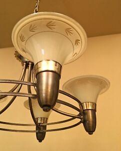 Details About Vintage Lighting 1940s Chandelier Custard Gl Shades