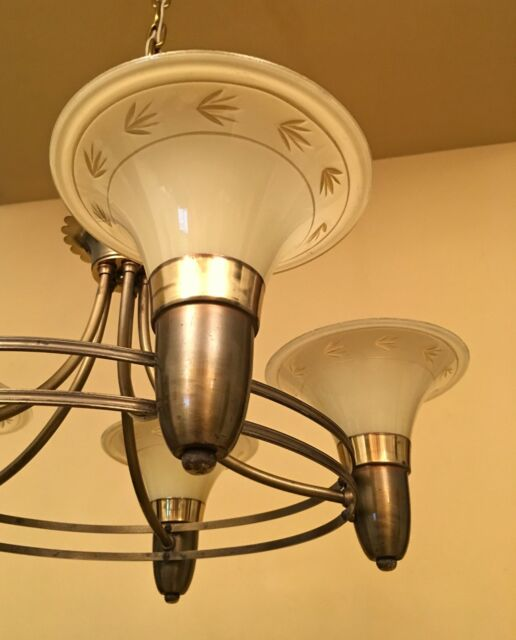 Vintage lighting lovely 1940s chandelier ebay vintage lighting 1940s chandelier custard glass shades aloadofball Image collections