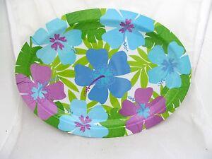 Luau-Beach-Party-Tiki-Bar-Floral-Leaf-Hawaiian-Oval-Serving-Tray-Plate-Platter