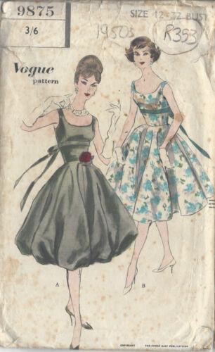 "R353 1950s Vintage Vogue Sewing Pattern Vestido B32/"""