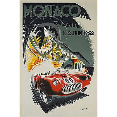 PLAQUE ALU REPRODUISANT UNE AFFICHE MONACO 1ER ET 2 JUIN 1952