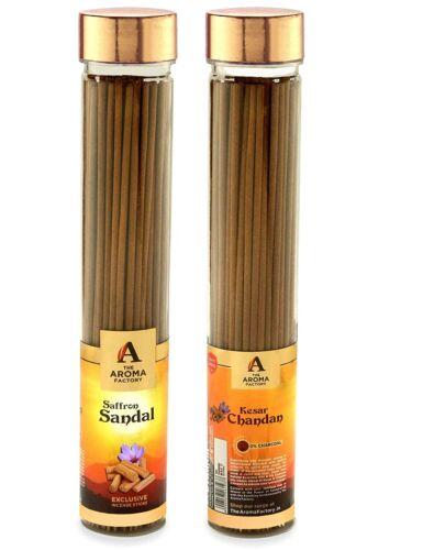 Pack of 100 Chandan Saffron and Sandal Wood Incense Sticks Agarbatti Jumbo Jar