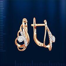 Russische Rose Rotgold 585 Goldohrringe mit Fianite. Neu. Rose gold earrings !