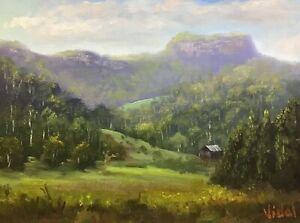 Cloudy-afternoon-near-Barrengarry-Oil-on-linen-board-Australian-landscape-Vidal