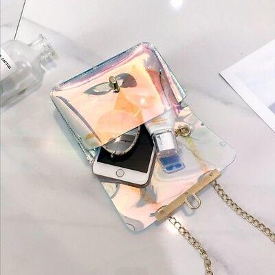 Women PVC Chain Bag Laser Transparent Clear Tote Shoulder Crossbody Handbag Bags