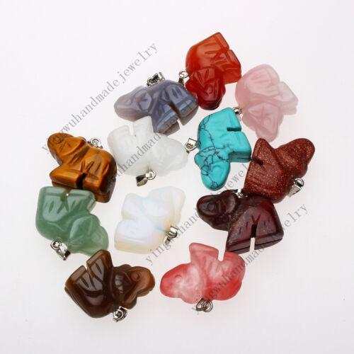 Hot Wholesale lots 20pcs Charming Mixed Gemstone Carved Elephant Pendant Bead