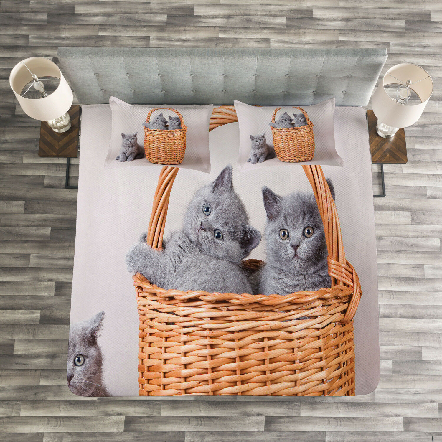 Kitten Quilted Bedspread & Pillow Shams Set, British Cats in Basket Print