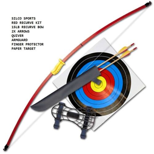 "FAMILY RECURVE JUNIOR RED YOUTH LONGBOW SET 44"" 2 ARROWS & 5 40CM TARGETS"