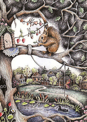 House of squirrel Forest Peasant Village Russian Modern Postcard