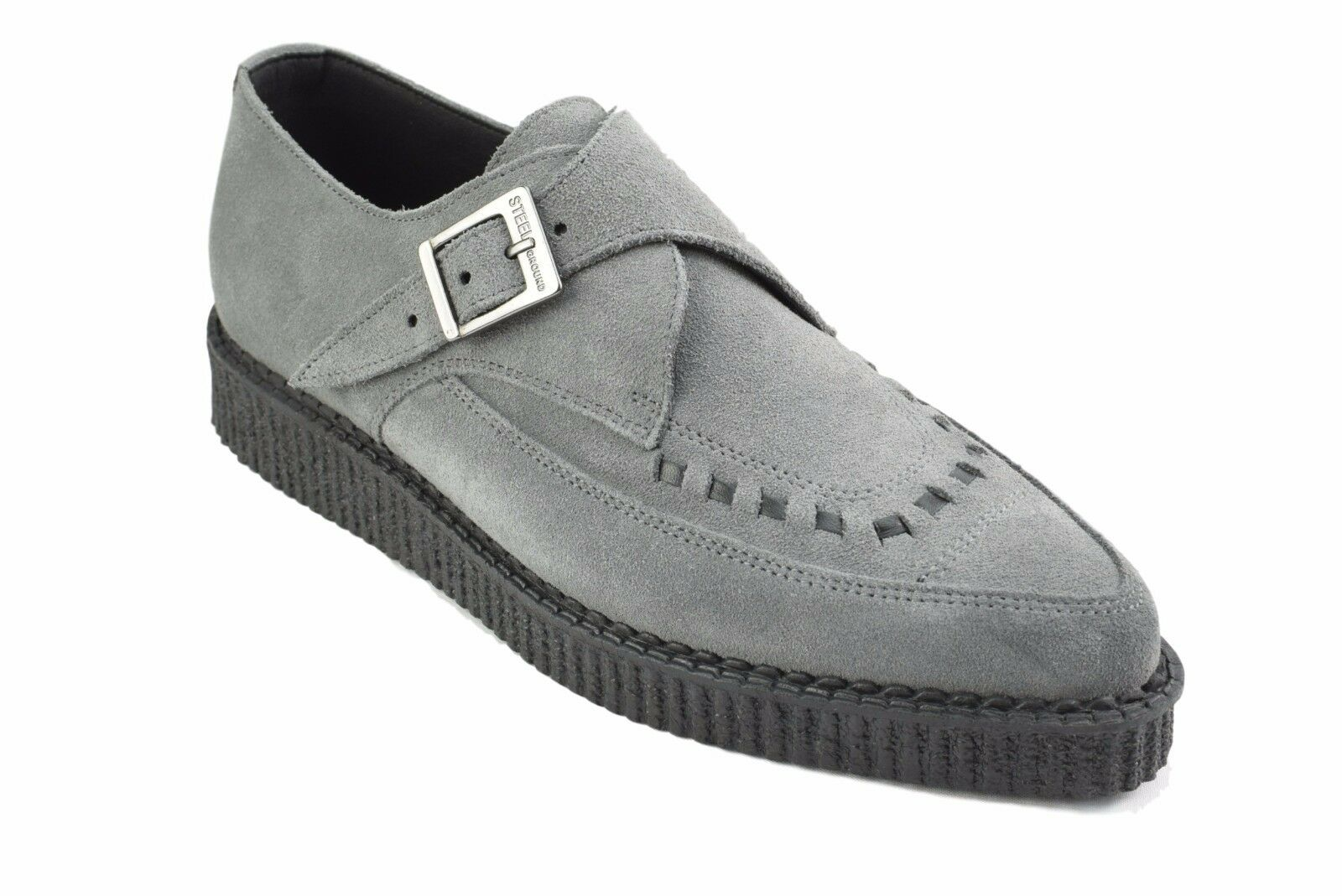 Steel Ground Schuhes Grau Suede Creepers Monk Buckle Pointed Sc200Z134