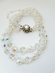 Vintage-50s-17-5-034-Sparkly-Aurora-Borealis-Double-Strand-Faceted-Glass-Necklace