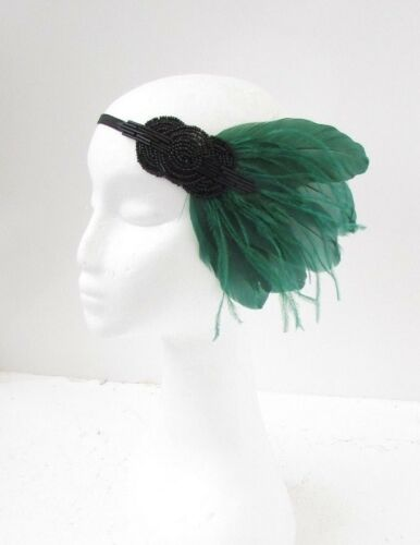 Black Bottle Dark Green Feather Headpiece 1920s Headband Flapper Gatsby Vtg 6552