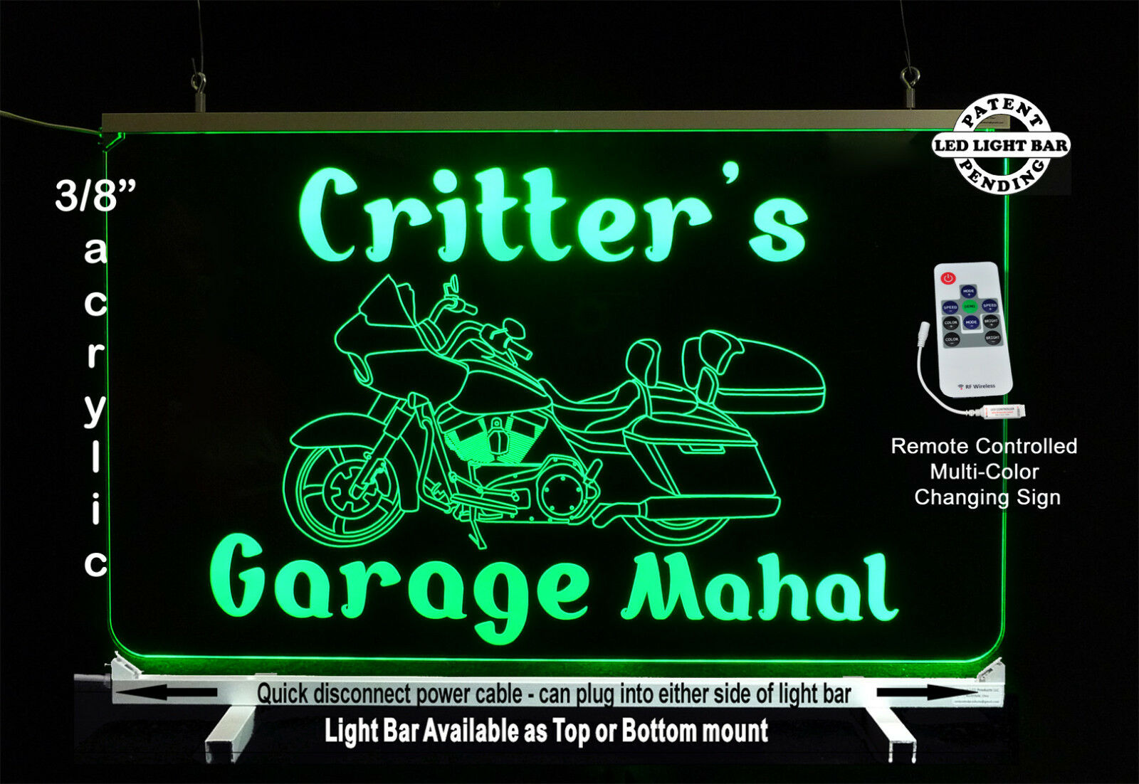 Personalized Motorcycle LED Man Cave Sign- Garage Sigh, Bar sign, Gift for Dad