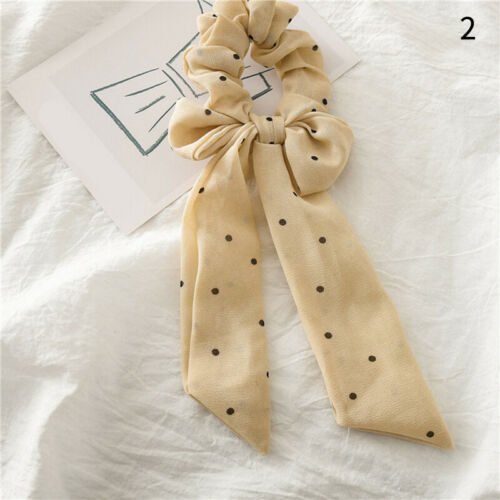 Details about  /Small Dots Stripe Floral Print Chiffon Knotted Bow Elastic Hair Ring Accessories