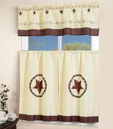 3 Pcs Western Texas  Star Kitchen//Cafe Curtain With Swag and Tier Curtain Set