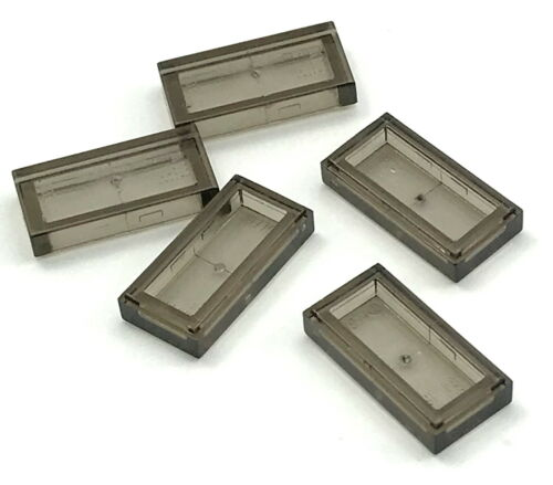 Lego Lot of 5 New Trans-Black Tile 1 x 2 with Groove Transparent Parts Pieces