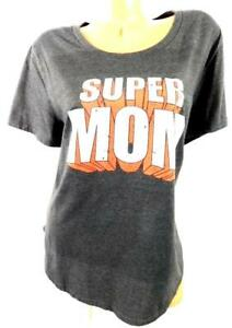 Women-039-s-gray-red-super-mom-print-scoop-neck-short-sleeve-plus-stretch-top-2X