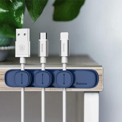 Magnetic Cable Clip Organizer Wire Cord Management Winder Line Holder Blue NEW