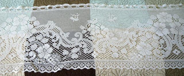 "100/% Cotton White Handmade Fine Crochet Lace 15x52/"" Table Runner Vintage Style"
