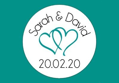 24 Personalised Round Heart Wedding Colour Stickers/Labels 3FOR2 Envelopes Seals