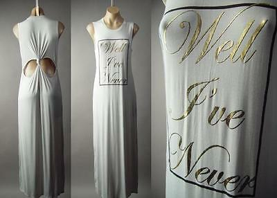 Gray Gold Metallic Text Graphic Knot Cut Out Open Back Maxi 179 mv Dress S M L