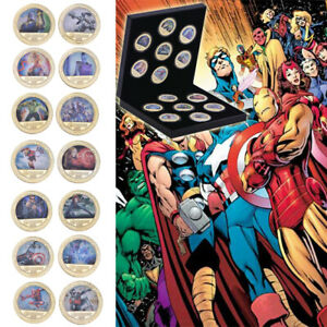 14pcs-Marvel-The-Avengers-iron-Man-Gold-Moneda-conmemorativa-en-caja-de-regalos