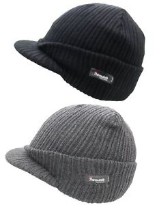 79fda64e Image is loading Unisex-Mens-Ladies-Peaked-Beanie-Thinsulate-Thermal-Winter-