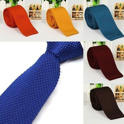 Fashion Men's Woven Tie Knit Knitted Tie Necktie Narrow Solid Slim Skinny Hot