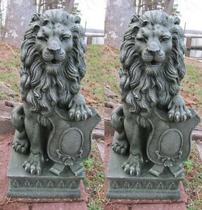 Charmant Image Is Loading 2 Regal Lion Statue Outdoor Guardian Driveway Entrance