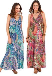 Pistachio Peacock Feather Print Pink   Blue Mix Maxi Dress UK 8-22 ... 668975f36