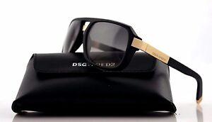 be85e021f73 NEW Genuine DSQUARED2 Matte Black Light Gold Smoke Grey Sunglasses ...
