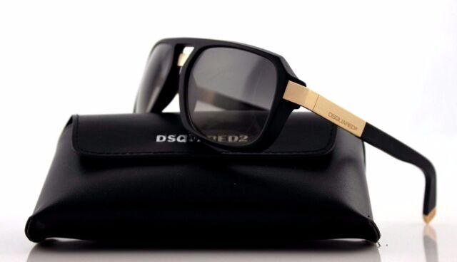 acce8ba9825 NEW Genuine DSQUARED2 Matte Black Light Gold Smoke Grey Sunglasses DQ  0028 S 02B