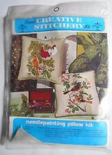 Crewel Creative Stitchery Embroidery Pillow Kit Female & Male Cardinal Birds