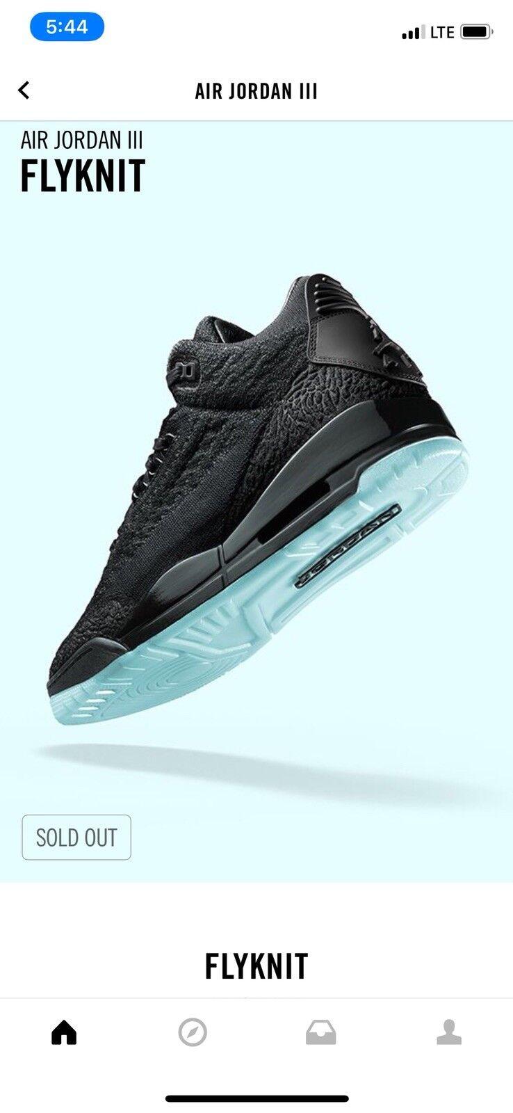 2018 Nike Air Jordan Retro 3 FLYKNIT BLACK ICE, SIze 8.5 Brand discount
