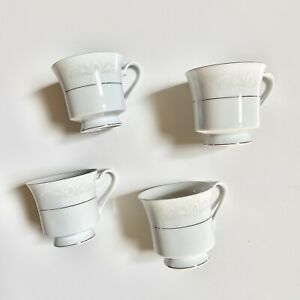 CROWN-MING-Fine-China-QUEENS-LACE-PATTERN-Tea-Coffee-Cups-Set-of-4-White-Silver