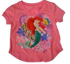 LAST 2* Disney Girls Fashion T Shirt Ariel and Friend PINK $10 GLITTER FREE SHIP