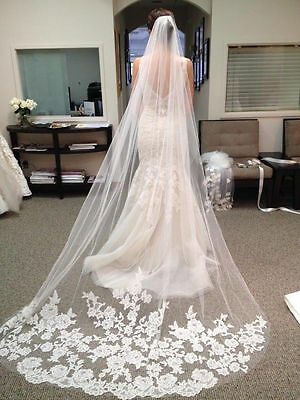 1 Layer White Ivory Cathedral Length Lace Edge Bride Wedding Bridal Veil + Comb