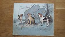 peinture aquarelle scène de chasse chien Beagle Berger 19ème Rötig De Penne