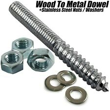M8 x 90mm WOOD TO METAL DOWELS POLE ROD WALL HANGER BOLTS FURNITURE FIXING