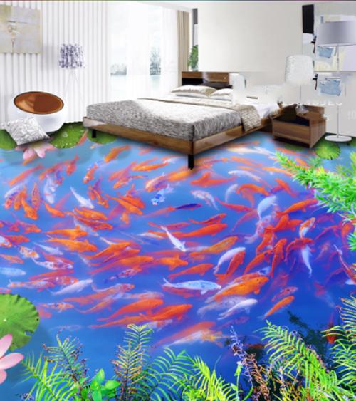 3D Fish pond lotus 012 Floor WallPaper Murals Wall Print Decal 5D AJ WALLPAPER