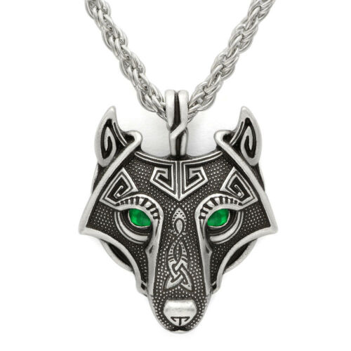 Norse Viking Green Eyes Wolf Head Pendant Vintage Siver Necklace Men/'s Jewelry
