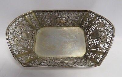 Content Ornate Rectangular Repousse/pierced Basket 800 Brilliant Antique European Silver