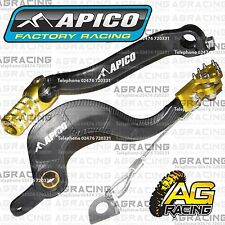 Apico Black Yellow Rear Brake & Gear Pedal Lever For Suzuki RMZ 450 2013 MotoX