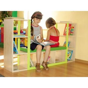 Image Is Loading  Kids Bookshelf Childrens Wooden Bookcase With Seating Bench