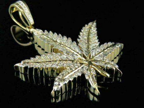 Women/'s 14K Yellow Gold Over Weed Marijuana Leaf 1//2 Ct Diamond Pendant Charm