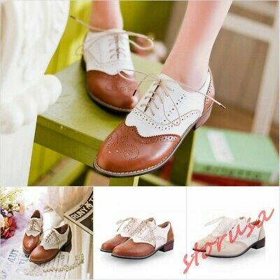 Girls Brogue School Shoes Girls Brogues Lace Up Low Heels Womens Brogues Size