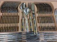 Kaiserkoch-Germany Versace Modern stripes 84 Pcs Dinning Set 12 Wooden Flatware